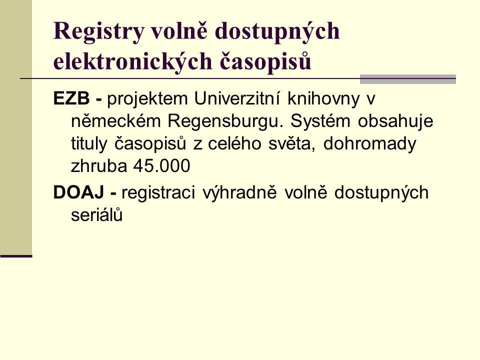 Registry volně dostupných elektronických časopisů