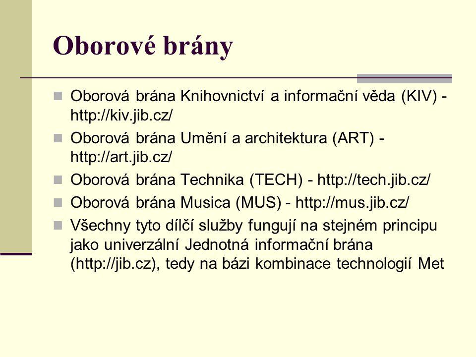 Oborové brány Oborová brána Knihovnictví a informační věda (KIV) - http://kiv.jib.cz/ Oborová brána Umění a architektura (ART) - http://art.jib.cz/