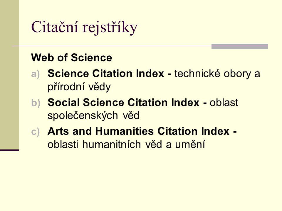 Citační rejstříky Web of Science
