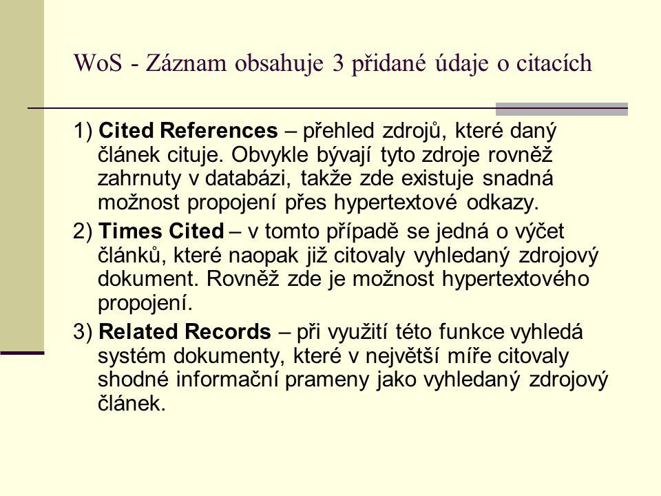 WoS - Záznam obsahuje 3 přidané údaje o citacích