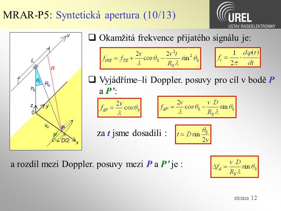 MRAR-P5: Syntetická apertura (10/13)