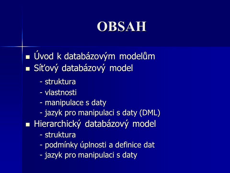OBSAH - struktura Úvod k databázovým modelům Síťový databázový model