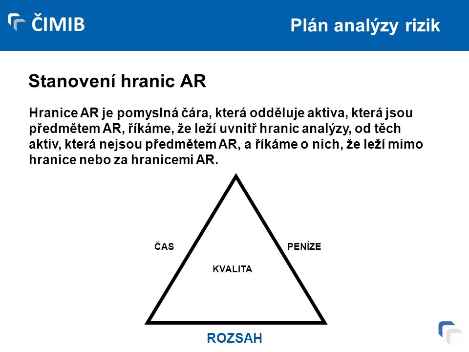 Plán analýzy rizik Stanovení hranic AR