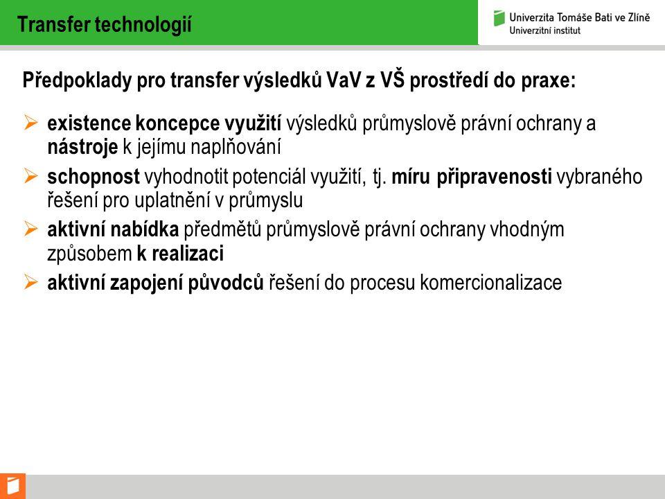 Transfer technologií Předpoklady pro transfer výsledků VaV z VŠ prostředí do praxe: