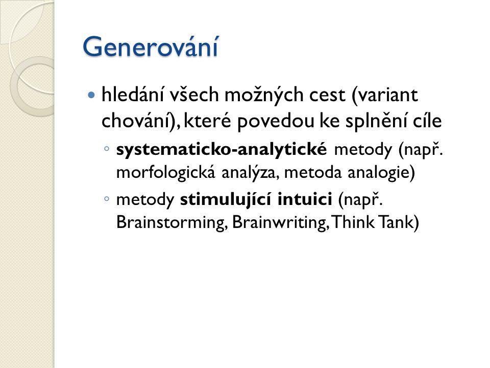 Generování hledání všech možných cest (variant chování), které povedou ke splnění cíle.