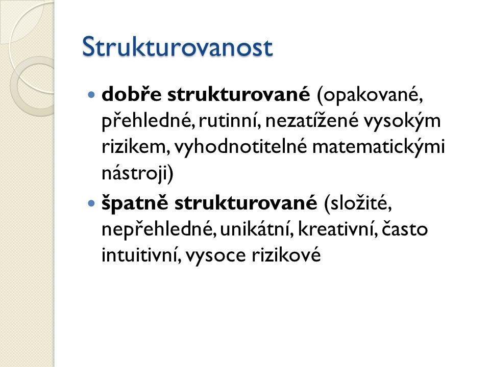 Strukturovanost dobře strukturované (opakované, přehledné, rutinní, nezatížené vysokým rizikem, vyhodnotitelné matematickými nástroji)