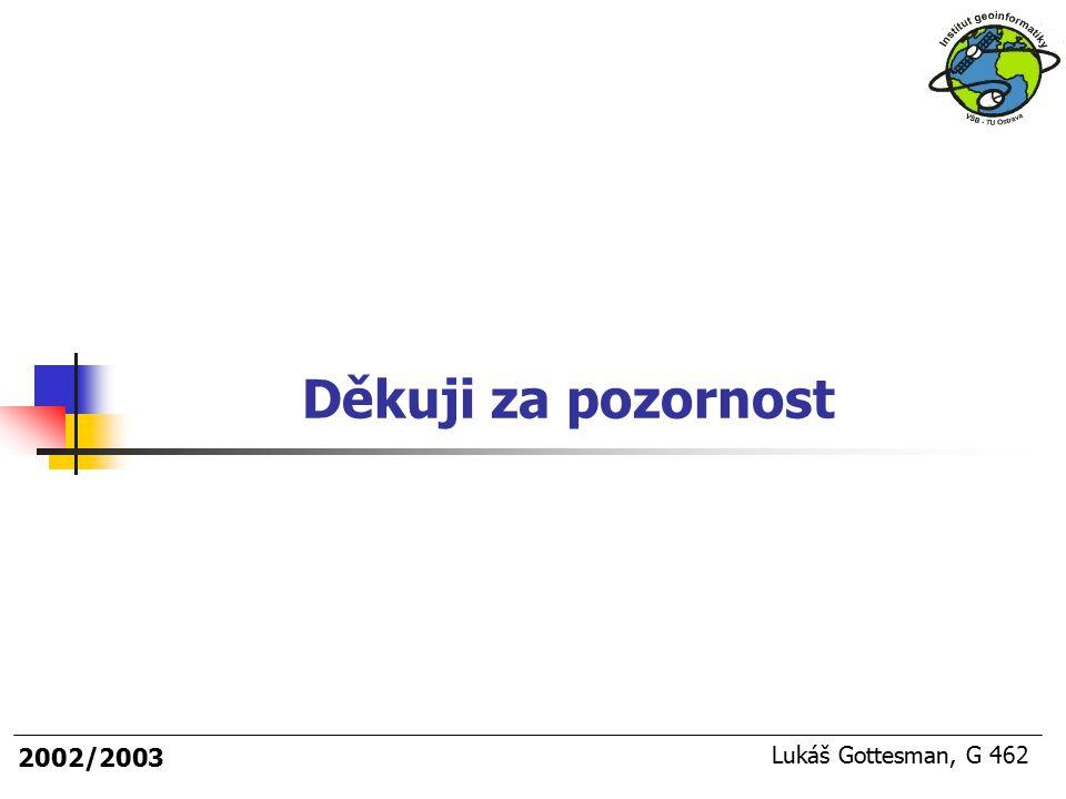 Děkuji za pozornost 2002/2003 Lukáš Gottesman, G 462