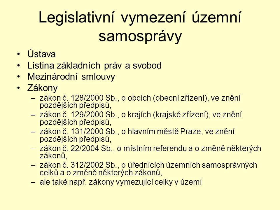 Legislativní vymezení územní samosprávy