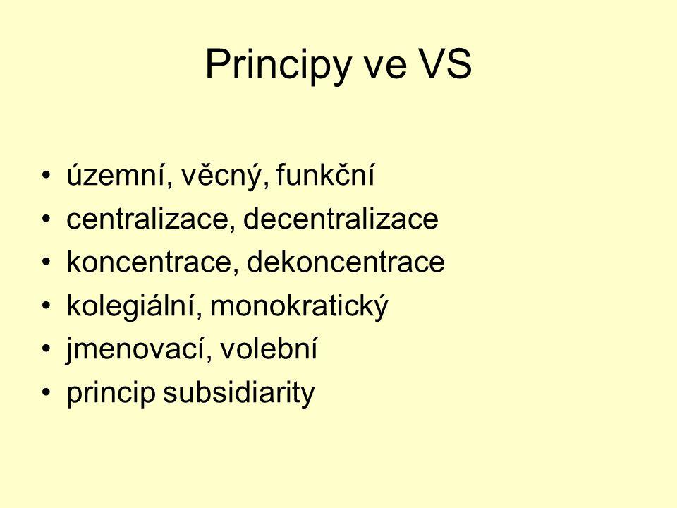 Principy ve VS územní, věcný, funkční centralizace, decentralizace