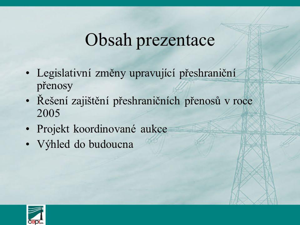 Obsah prezentace Legislativní změny upravující přeshraniční přenosy