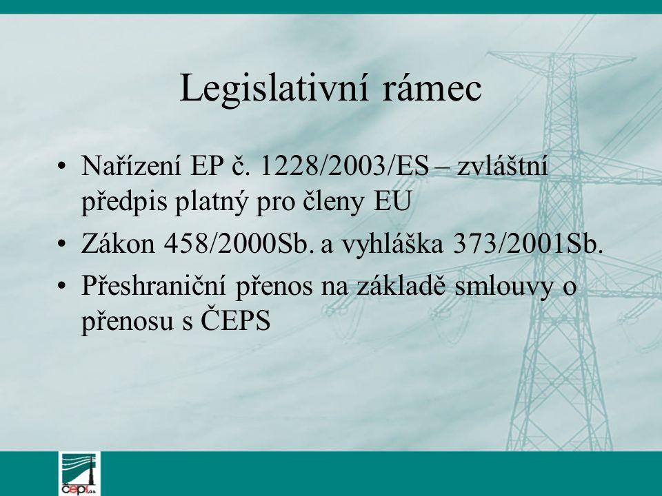 Legislativní rámec Nařízení EP č. 1228/2003/ES – zvláštní předpis platný pro členy EU. Zákon 458/2000Sb. a vyhláška 373/2001Sb.