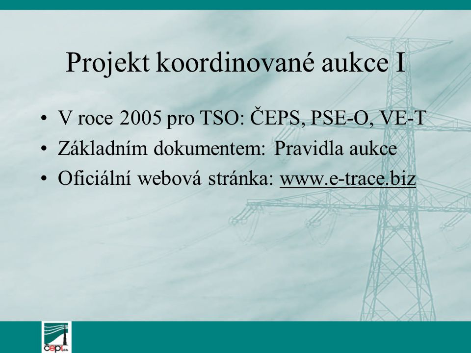 Projekt koordinované aukce I