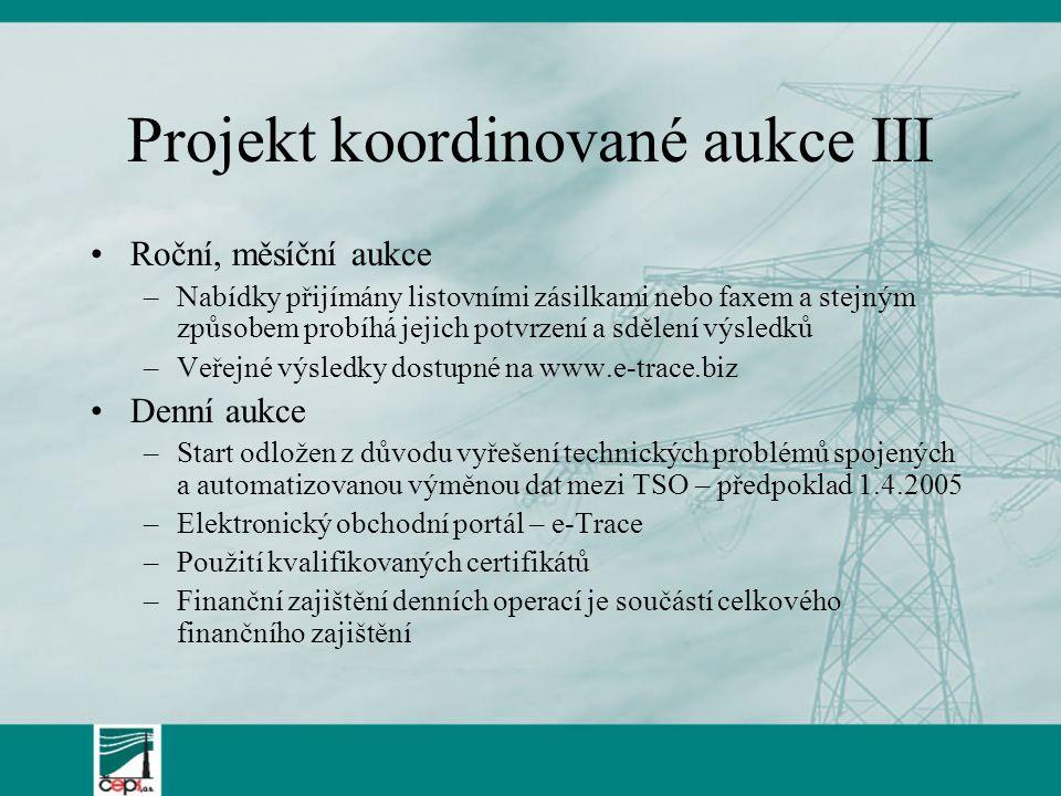Projekt koordinované aukce III