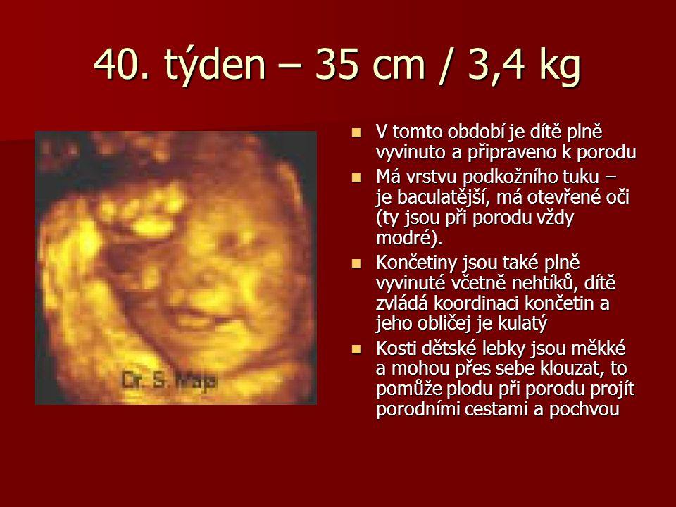 40. týden – 35 cm / 3,4 kg V tomto období je dítě plně vyvinuto a připraveno k porodu.