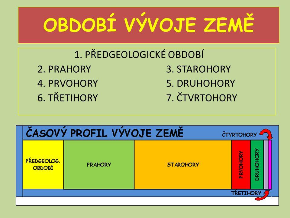 OBDOBÍ VÝVOJE ZEMĚ 1. PŘEDGEOLOGICKÉ OBDOBÍ 2. PRAHORY 3.