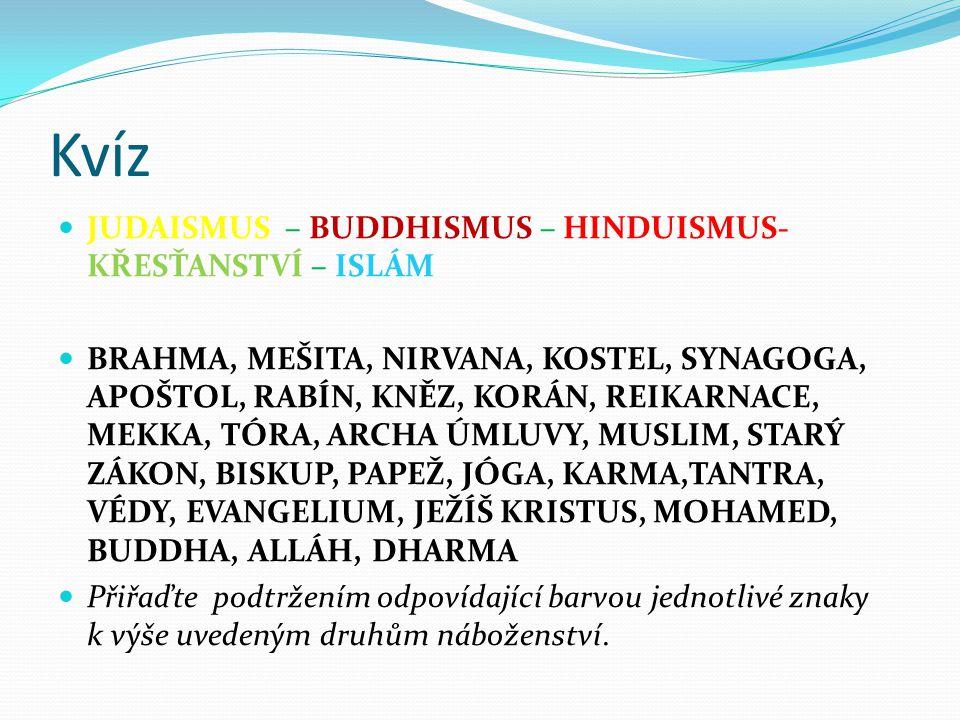 Kvíz JUDAISMUS – BUDDHISMUS – HINDUISMUS- KŘESŤANSTVÍ – ISLÁM