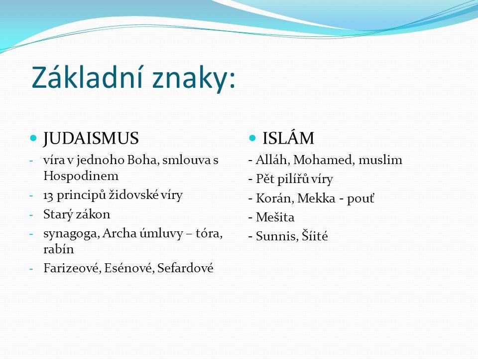 Základní znaky: JUDAISMUS ISLÁM