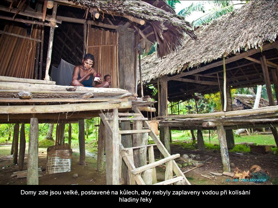 Domy zde jsou velké, postavené na kůlech, aby nebyly zaplaveny vodou při kolísání hladiny řeky
