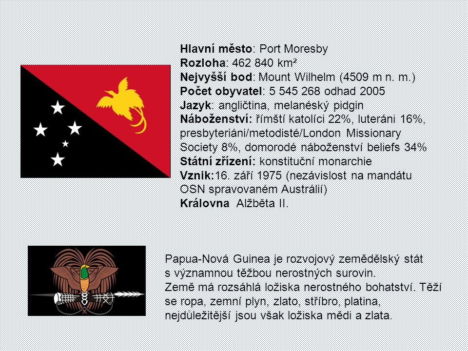 Hlavní město: Port Moresby Rozloha: 462 840 km² Nejvyšší bod: Mount Wilhelm (4509 m n. m.) Počet obyvatel: 5 545 268 odhad 2005 Jazyk: angličtina, melanéský pidgin Náboženství: římští katolíci 22%, luteráni 16%, presbyteriáni/metodisté/London Missionary Society 8%, domorodé náboženství beliefs 34% Státní zřízení: konstituční monarchie Vznik:16. září 1975 (nezávislost na mandátu OSN spravovaném Austrálií) Královna Alžběta II.
