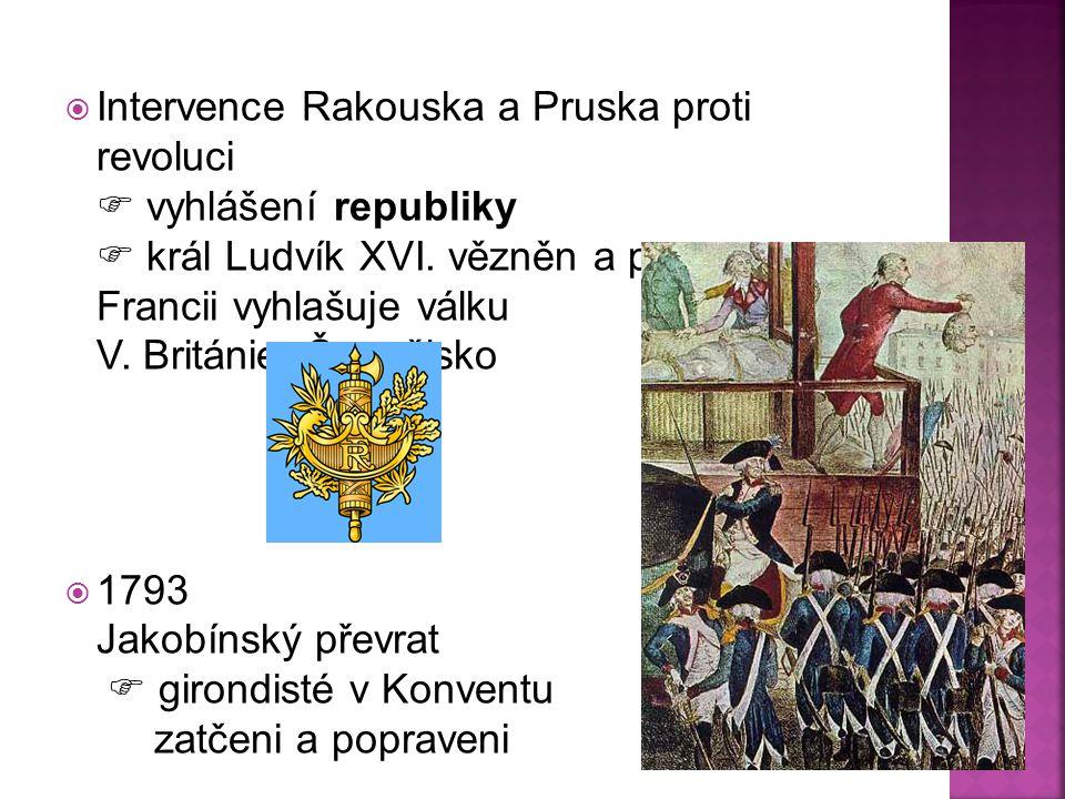 Intervence Rakouska a Pruska proti revoluci  vyhlášení republiky  král Ludvík XVI. vězněn a popraven Francii vyhlašuje válku V. Británie, Španělsko