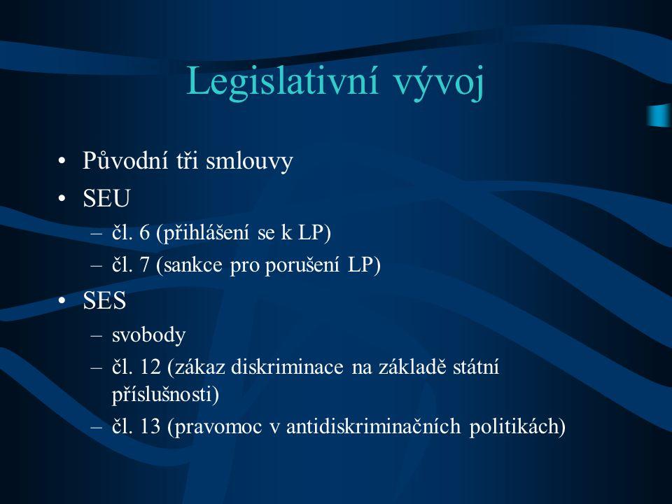Legislativní vývoj Původní tři smlouvy SEU SES