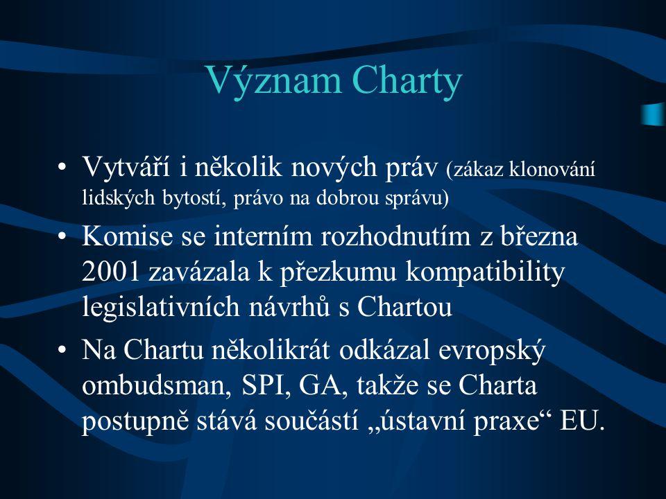 Význam Charty Vytváří i několik nových práv (zákaz klonování lidských bytostí, právo na dobrou správu)