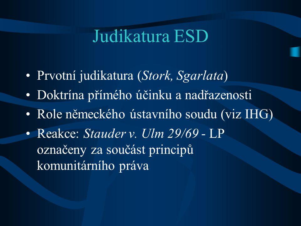 Judikatura ESD Prvotní judikatura (Stork, Sgarlata)