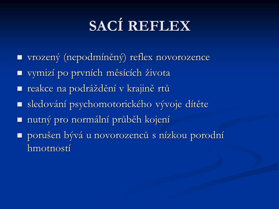 SACÍ REFLEX vrozený (nepodmíněný) reflex novorozence