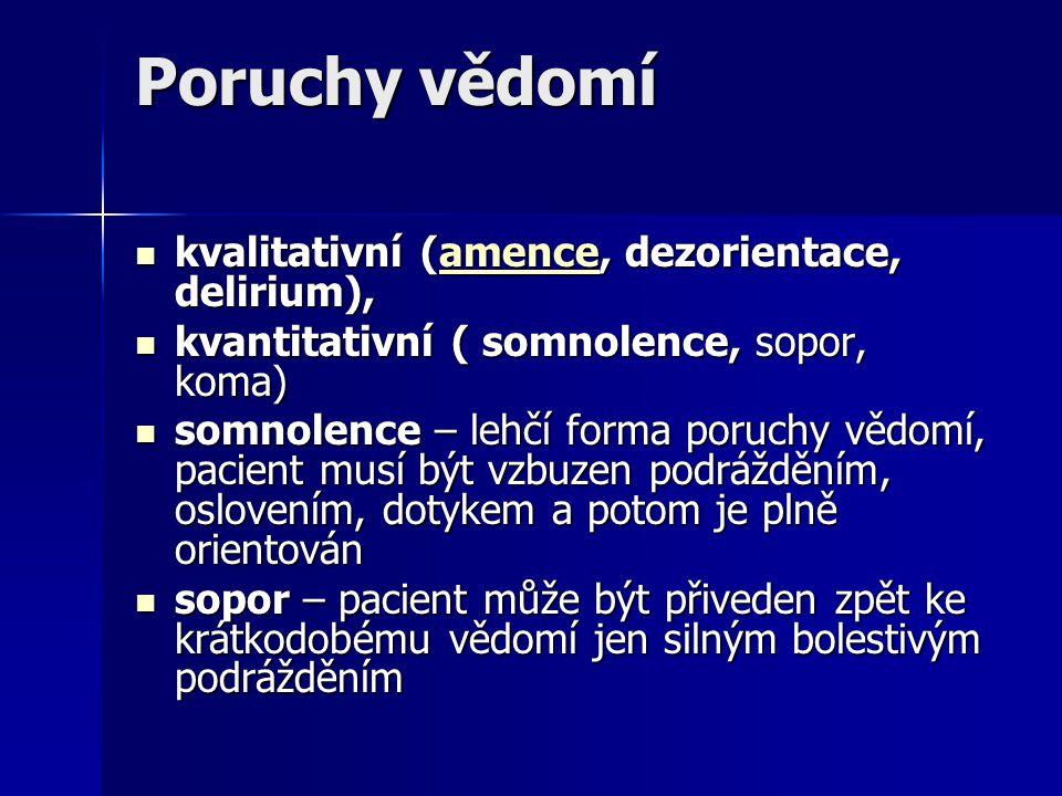 Poruchy vědomí kvalitativní (amence, dezorientace, delirium),
