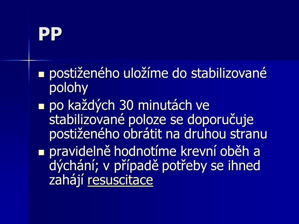 PP postiženého uložíme do stabilizované polohy