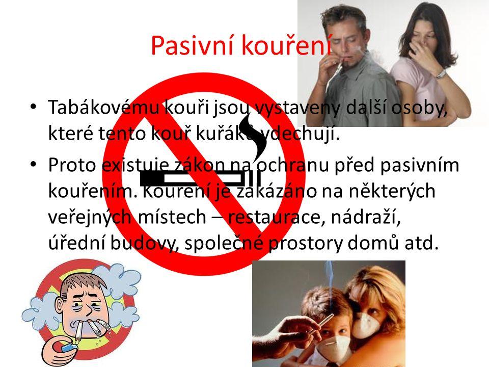 Pasivní kouření Tabákovému kouři jsou vystaveny další osoby, které tento kouř kuřáků vdechují.