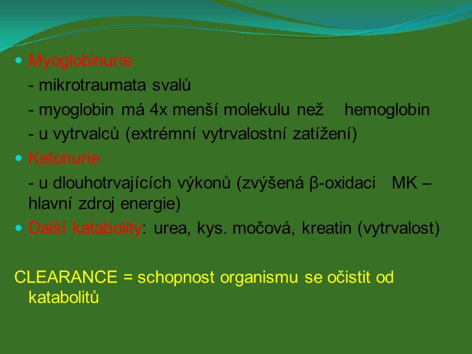 Myoglobinurie - mikrotraumata svalů. - myoglobin má 4x menší molekulu než hemoglobin. - u vytrvalců (extrémní vytrvalostní zatížení)