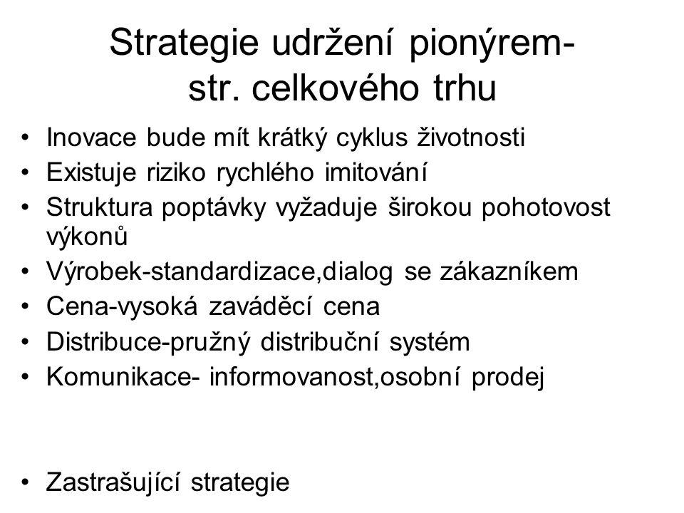 Strategie udržení pionýrem- str. celkového trhu