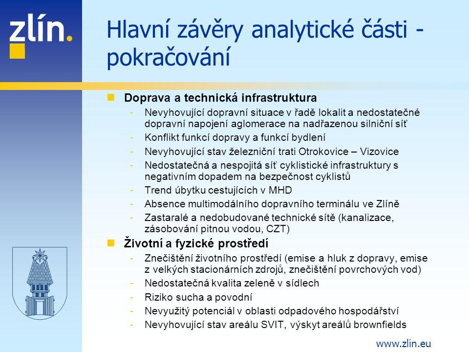 Hlavní závěry analytické části - pokračování