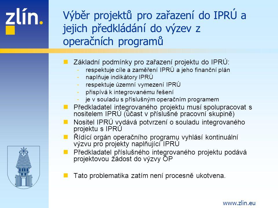 Výběr projektů pro zařazení do IPRÚ a jejich předkládání do výzev z operačních programů