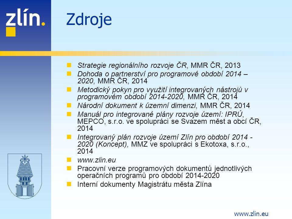 Zdroje Strategie regionálního rozvoje ČR, MMR ČR, 2013