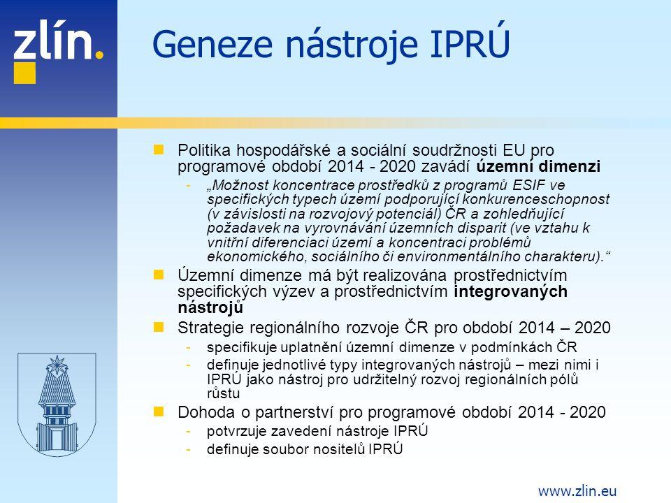 Geneze nástroje IPRÚ Politika hospodářské a sociální soudržnosti EU pro programové období 2014 - 2020 zavádí územní dimenzi.