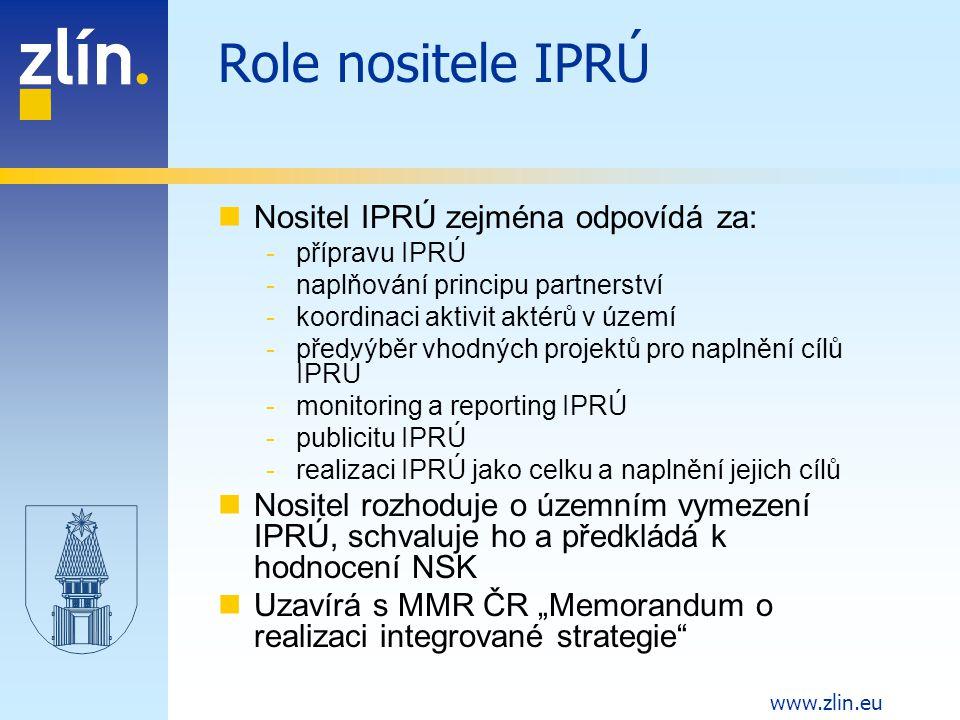 Role nositele IPRÚ Nositel IPRÚ zejména odpovídá za: