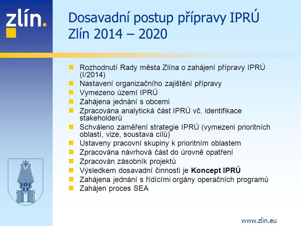 Dosavadní postup přípravy IPRÚ Zlín 2014 – 2020