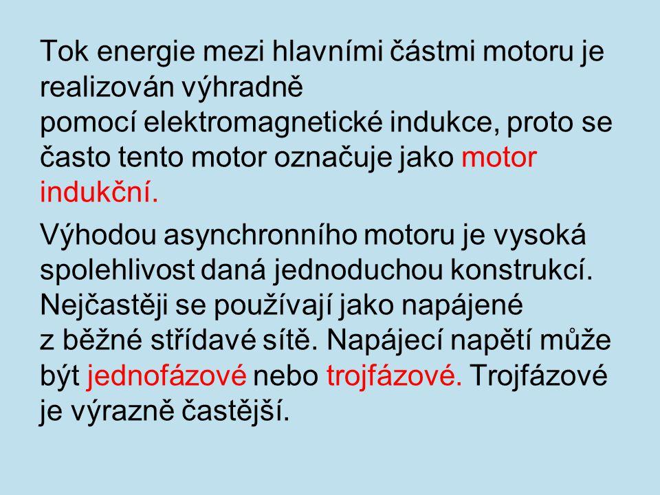 Tok energie mezi hlavními částmi motoru je realizován výhradně pomocí elektromagnetické indukce, proto se často tento motor označuje jako motor indukční.