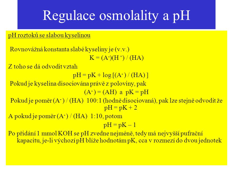 Regulace osmolality a pH