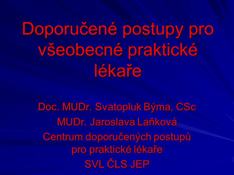 Doporučené postupy pro všeobecné praktické lékaře