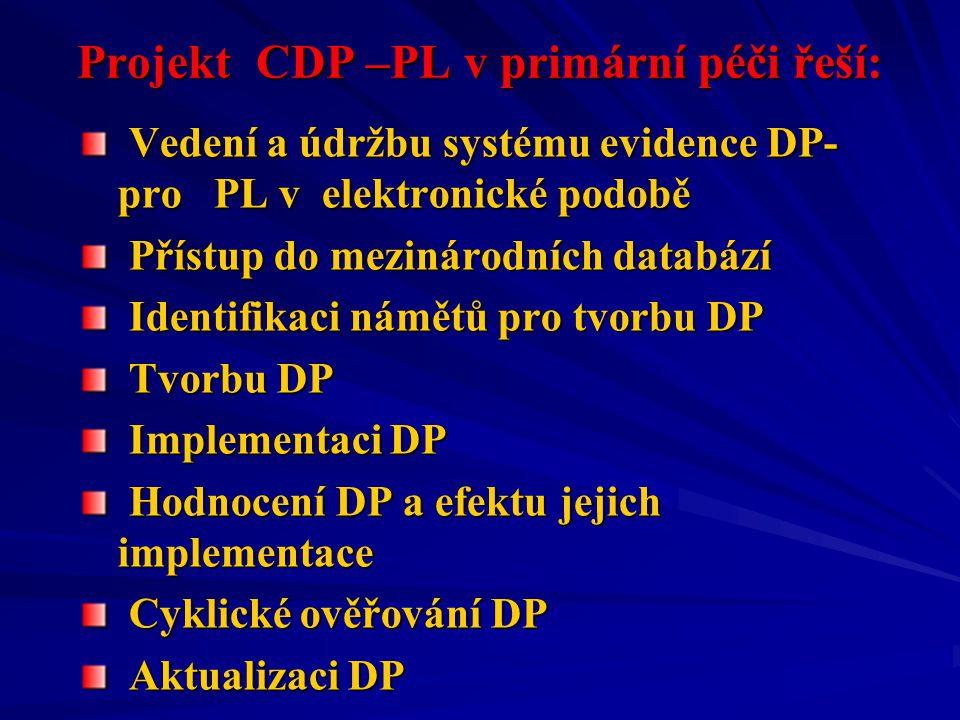 Projekt CDP –PL v primární péči řeší: