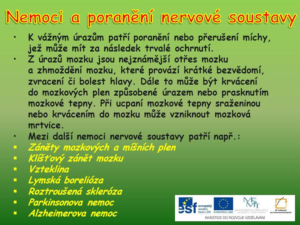 Nemoci a poranění nervové soustavy