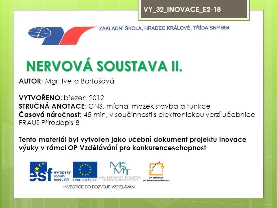 NERVOVÁ SOUSTAVA II. VY_32_INOVACE_E2-18 AUTOR: Mgr. Iveta Bartošová