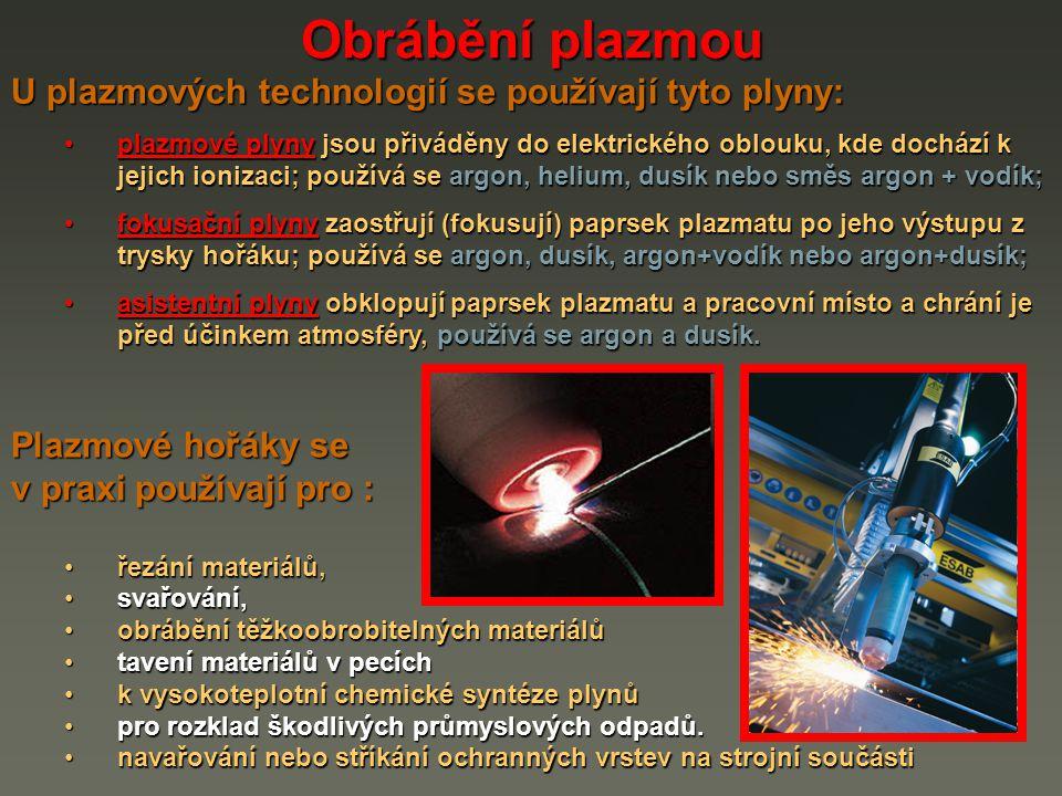 Obrábění plazmou U plazmových technologií se používají tyto plyny: