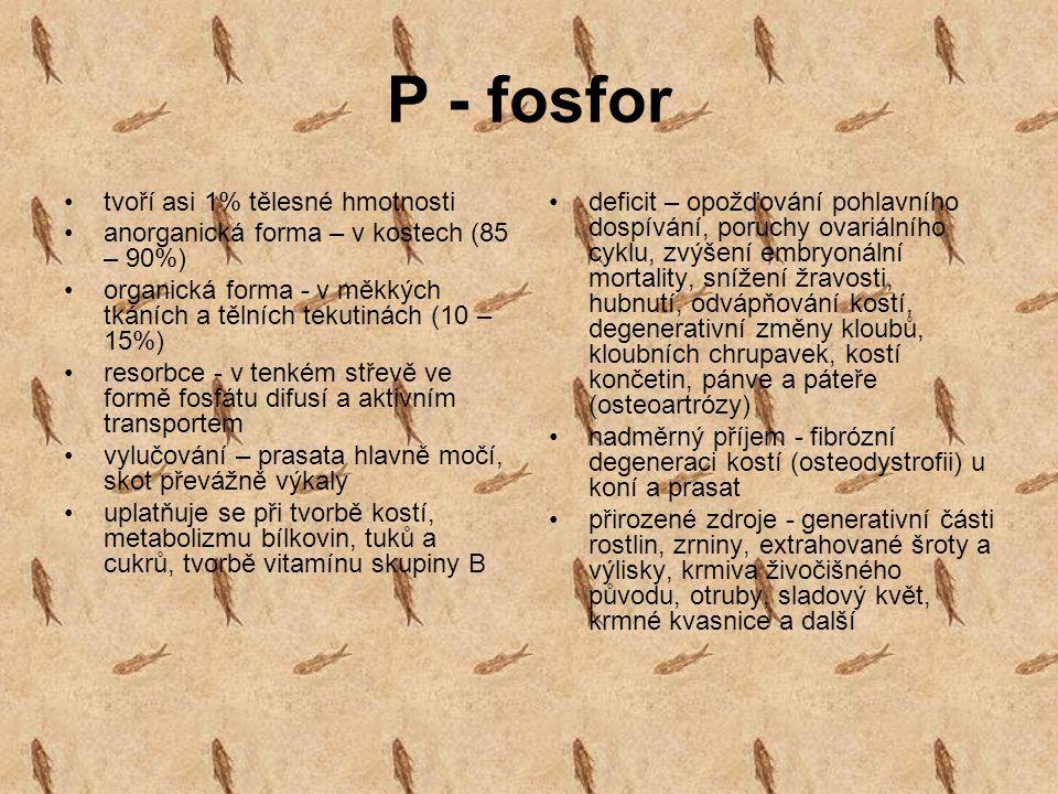 P - fosfor tvoří asi 1% tělesné hmotnosti