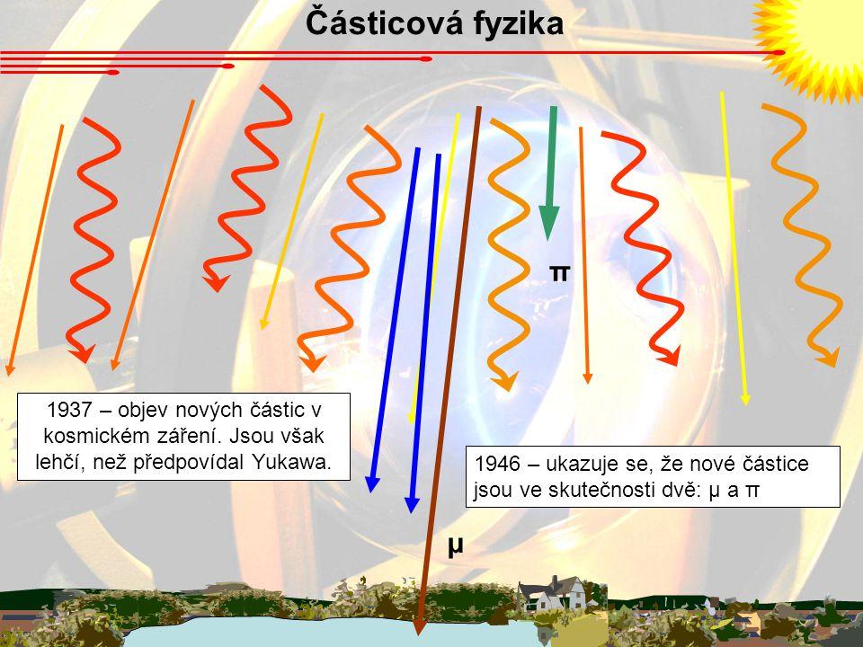 Částicová fyzika π. 1937 – objev nových částic v kosmickém záření. Jsou však lehčí, než předpovídal Yukawa.