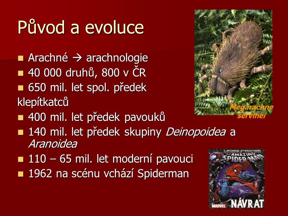 Původ a evoluce Arachné  arachnologie 40 000 druhů, 800 v ČR