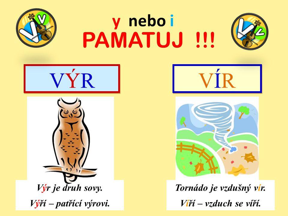PAMATUJ !!! VÝR VÍR y nebo i Výr je druh sovy. Výří – patřící výrovi.